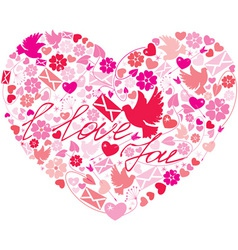 Heart flowers vector image