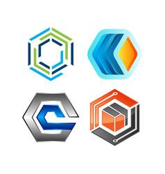 hexagon geometric polygonal logo vector image