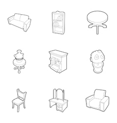 Home furniture icons set outline style vector image