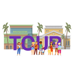 inscription tour tourist banner guide vector image