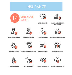 insurance concept - line design style icons set vector image