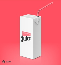 Juice package with drinking straw template vector image