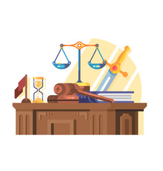 jurisprudence court and law concept flat vector image