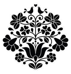 Kalocsai black embroidery - Hungarian floral folk vector