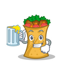 Kebab wrap character cartoon with juice vector