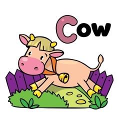 Little funny cow or calf for ABC Alphabet C vector
