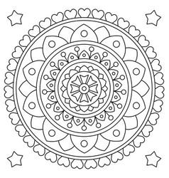 Mandala coloring page black and white vector