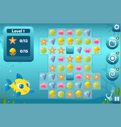 Match three game interface for underwater world vector