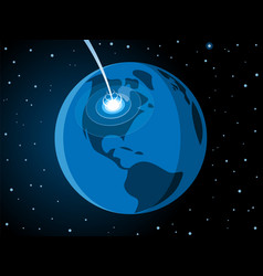 Meteorite impacting earth scene vector