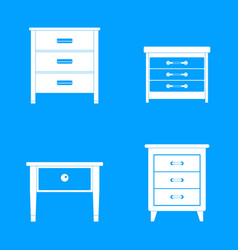 nightstand bedside icons set simple style vector image