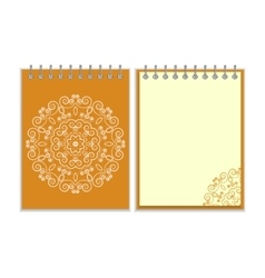 Orange cover notebook with round floral pattern vector image