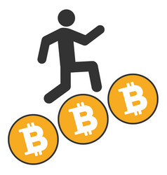 person steps bitcoin coins flat icon vector image