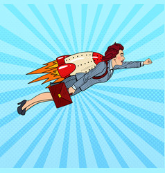pop art business woman flying on rocket vector image