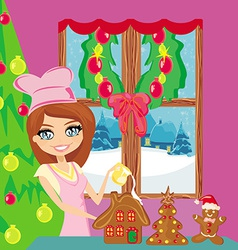 Portrait happy young housewife decorating vector
