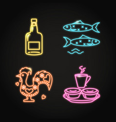 portugal food and culture icons set in glowing vector image
