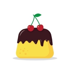 pudding with a cherry vector image