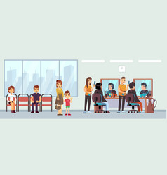queue in barber shop people waiting haircut vector image
