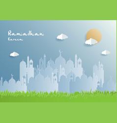Ramadan kareem paper cut background vector