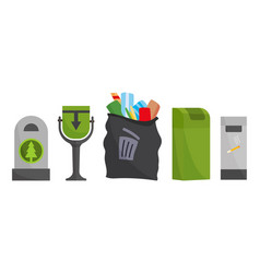 recycling and garbage cans collection city vector image