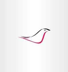 red black stylized bird logo vector image