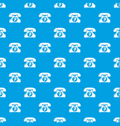 retro phone pattern seamless blue vector image