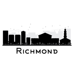 Richmond City skyline black and white silhouette vector image