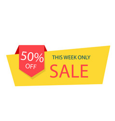 sale 50 this week only yellow sale banner vector image