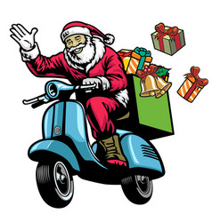 Santa claus riding old scooter with bunch of vector