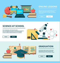school flat banners education pictures vector image