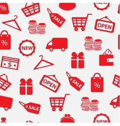 seamless background with shopping icons vector image