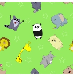 Seamless pattern with cute cartoons vector