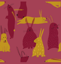 seamless pattern with funny rabbits vector image