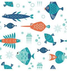 seamless pattern with unusual beautiful fishes vector image