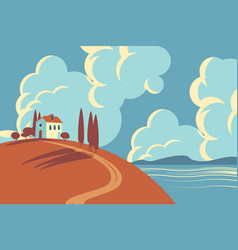 seascape with a small house on a hill vector image