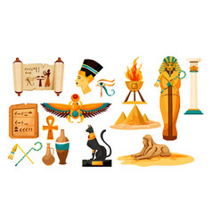 set isolated egyptian or egypt symbols or icon vector image