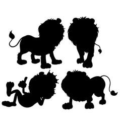 set lion silhouette vector image