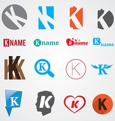 Set of alphabet symbols of letter K vector image