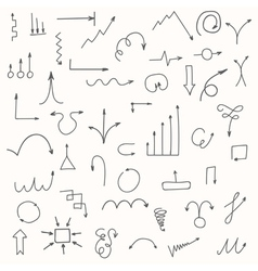 Set of hand drawn arrows Sketched style vector image