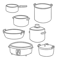 set of pot vector image