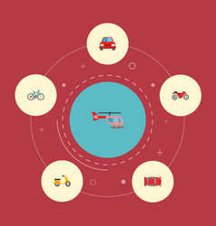 set of vehicle icons flat style symbols with vector image