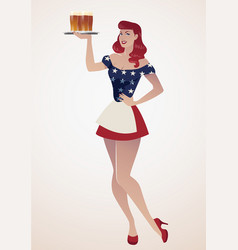 Sexy redhead pinup girl carrying a tray with beer vector