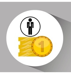 Silhouette man manager economy finance currency vector
