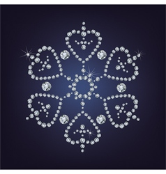 Snowflake made from diamonds vector image