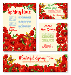 springtime floral banner greeting card template vector image