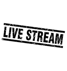 Square grunge black live stream stamp vector