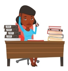 Stressed business woman working in office vector