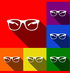 Sunglasses sign set of icons vector