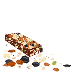 superfood breakfast bar with oats and dried fruits vector image