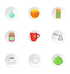 Tea icons set cartoon style vector
