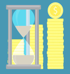 Time is money Hourglass with coin golden stock vector image